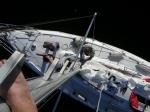 Utsikt fra masta under prøveseilas