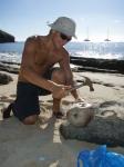 Johan knekker kokosnøtter