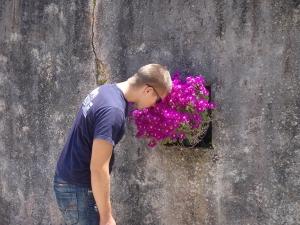 Viktig å stoppe opp og lukte på blommorna.